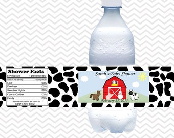 Barn Yard Red Farm Animals  - Personalized water bottle labels - Set of 5  Waterproof labels