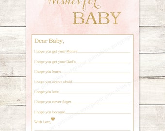 pink gold wishes for baby girl shower printable DIY pink gold glitter watercolor watercolour baby shower games - INSTANT DOWNLOAD