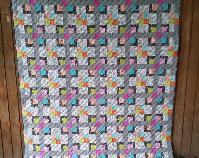 Bandbox a log cabin quilt pattern w/ baby blanket, throw and king sizes