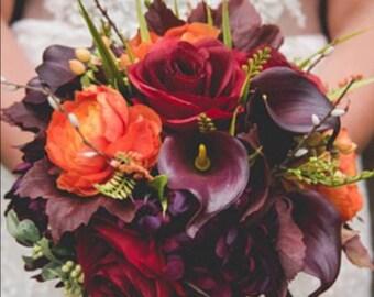 Fall wedding bouquet, plum wedding flowers, autumn bouquet.