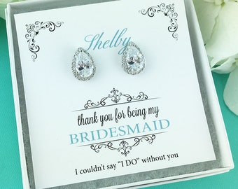 Bridesmaid Earrings, Personalized Bridesmaids Gift, Bridesmaid Earrings Pear Stud, Bridesmaid Jewelry Gifts, Heather Bridesmaids Earrings