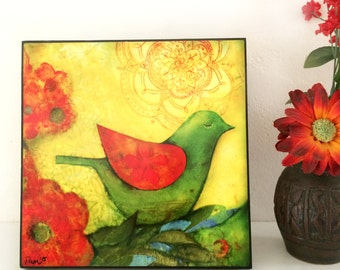 "Bird Art-Wood Mounted Archival Print of Original Mixed Media Art with Hand-Painted Details--""Redwing""--Pam Kapchinske"