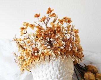 1800s French Antique Bridal Crown Wax Flower Tiara Ornate