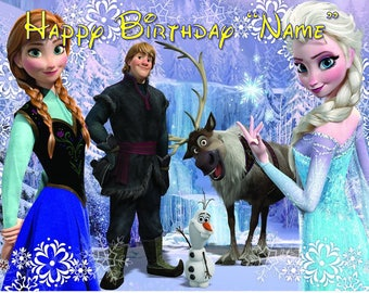 Frozen Party ! Edible Cake Topper Edible  Frosting Sheet - Quarter , Half , Round , Strips  Sheet Sizes