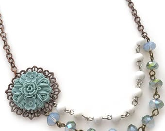 flower pearl & crystal necklace, light teal flower necklace, vintage look necklace, rosary chain necklace, green flower necklace, flower