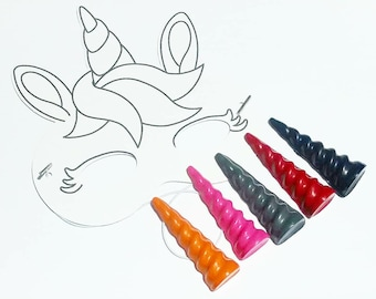 Animal Mask, Unicorn Crayons, Unicorn Birthday, Unicorn Party, Party Mask, Unicorn Gift, Crayons, Gift Set, Party Favors, DIY Mask, Paper