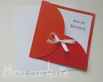 Original red and white wedding invitation
