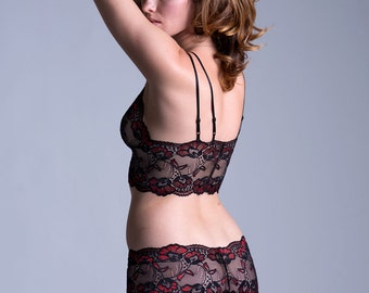 Ready To Ship - SMALL - Last One -  Lace Panties - Sheer See Through Red And Black Lace - 'Forget Me Not' Style Underwear - Women's Lingerie
