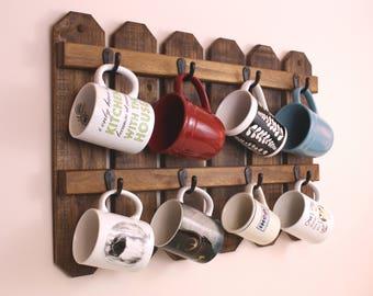 Coffee Mug Rack|Cup Holder|Mug Rack|Mug Holder|Coffee Cups|Coffee Mug Holder|Cup Mug Rack|Coffee Mug|Rustic Mug Rack|Farmhouse Decor|Gift