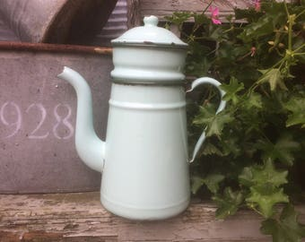 Vintage Mint green French enamel coffee pot in three parts