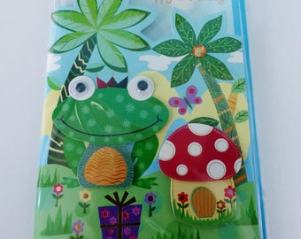 birthday greeting card in 3D frog with pearls eyes mobile and envelope color