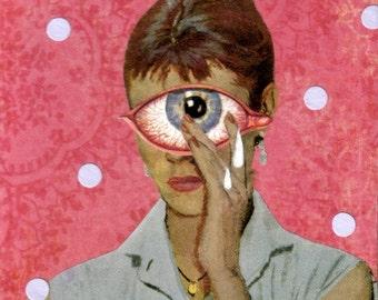 Offbeat Art, Mixed Media Collage, Original Artwork, Creepy Medical Oddity, Outsider Eccentric Decor