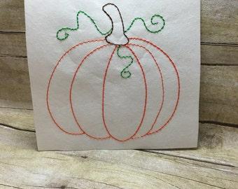 Bean Stitch Pumpkin, Vintage Pumpkin Embroidery Design,