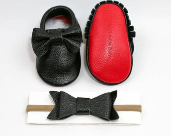 Black Red Bottom Moccasins, Baby Black and Red sole Bow Moccasins, Baby Leather Shoes, Toddler Moccasins, Red Baby Moccs, Baby Shower Gift