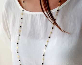 Long gold black necklace / long chain necklace / long black swarovski necklace / long gold flowers necklace / birthday gift idea