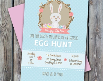 Printable Easter invitation, easter party, digital easter invite , print easter egg hunt invitation, easter brunch invitation, digital