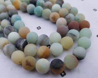 10mm Mat Amazonite Round beads full strand