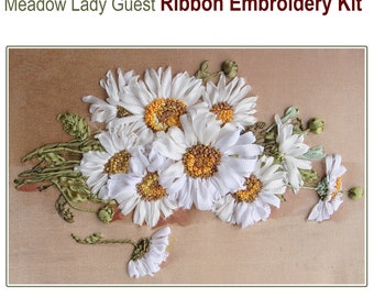Meadow Lady Guest silk ribbon embroidery kit with complete instructions and stitch guide