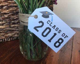 """Large Class of 2018 Tags (4"""" wide) - Graduation Party Tags - 2018 Graduation Party Decor"""