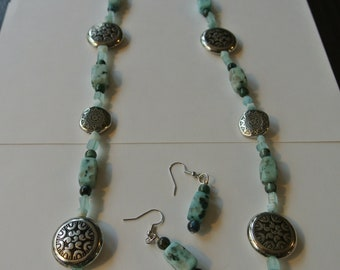 Light Green/Blue and Black Block Necklace with Silver Accent Beads