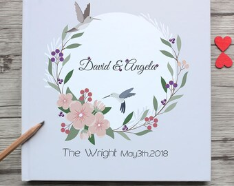 Beautiful Personalized Wreath Design White Wedding Guest Book,Custom Mr&Mrs White Wedding Guestbook,Wedding Gift For Couple,Party Souvenir
