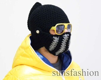 FREE SHIPPING Knight Helmet Boyfriend gift Winter Hat Mens hat Brother gift College student gift bike mask Winter Knit Cap, Mens Knitted