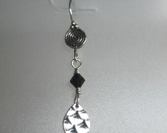 Snakeskin fine silver earrings with swarovski crystals