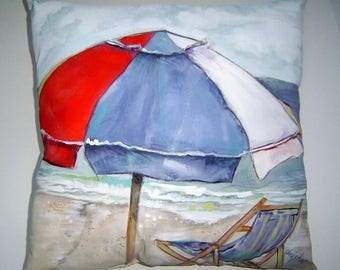 A Beach Day - Pillow Art Hand Painted Original Beach House Decor Seaside Vacation Summer Memories July 4th Red White Blue Umbrella Surfs Up