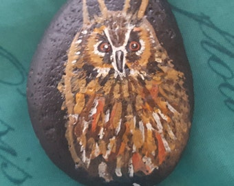 Long-Eared Owl hand painted stone