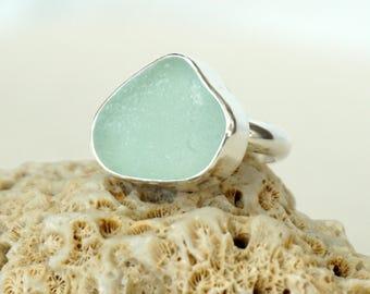 Seafoam Green Sea Glass Ring, Size 7.5 - Genuine Sea Glass, Natural Sea Glass, Sea Glass Jewelry, Beach Glass, Beach Glass Jewelry Ring