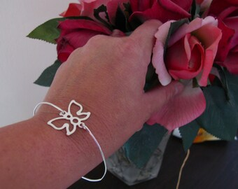 Silver butterfly bracelet, Thin cuff bracelet, Silver bangle bracelet for women, Stackable bracelets Jewelry