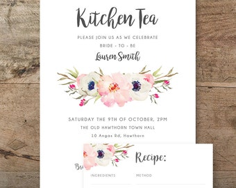 Printable bridal shower invitation kitchen tea invitation kitchen tea invitation and recipe card floral kitchen tea invitation boho bridal shower stopboris Image collections