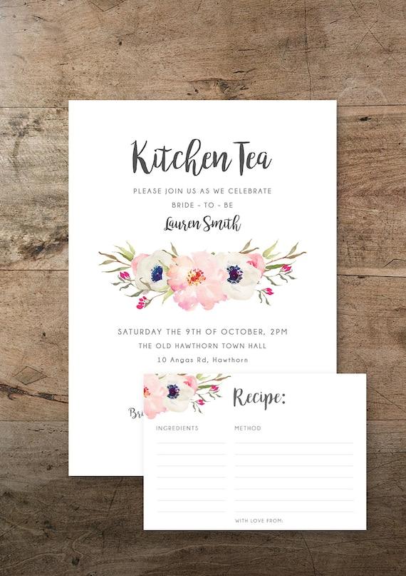 Kitchen tea invitation and recipe card floral kitchen tea