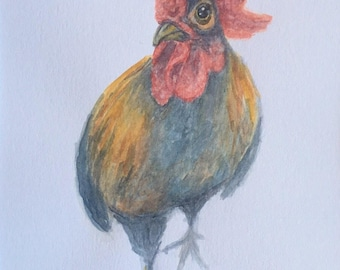 Curious Chicken - original farm animal watercolor painting