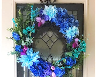 Spring Wreath/Wreaths for Front Door/Spring Floral Wreath/Spring Wreaths for Front Door/Spring Door Wreath/Spring Decor/Blue Door Wreath
