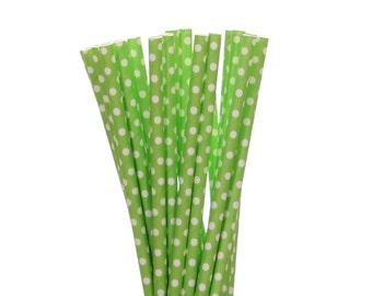 Cannucce di carta, paglia di carta festa rana, cannucce di carta verde Polka Dot Lime, giungla di carta paglia, giardino per feste, 1st Birthday Party Decor