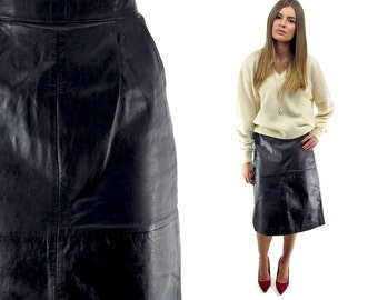 SALE - 80s Black Midi Leather Skirt ΔΔ High-Waist Leather Pencil Skirt Minimalist Leather Midi Skirt ΔΔ sm