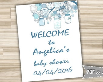 Welcome Baby Shower Sign With Mason Jars Blue - Baby Shower Welcome Shower Sign Blue Baby Boy - Personalized Baby Shower Sign - mjb