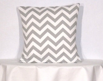20x20 inch Throw Pillow Cover  Chevron Zig Zag Grey and White
