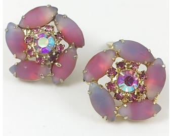 Gorgeous Frosted Sabrina Pink Flower Clip on Earrings, AB Rhinestone and Pink Glass Stone earrings