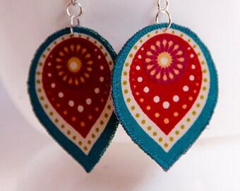 Teardrop earrings, lightweight boho earrings,  artisan jewelry, teal and maroon, statement earrings, bridesmaid gift