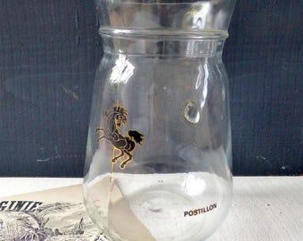 Vintage french jug pitcher decanter black horse POSTILION Bistro bar french vintage glass dishes