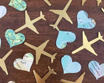 150 travel Confetti Pieces, map/atlas hearts, gold aeroplanes. Weddings, leaving party, travel