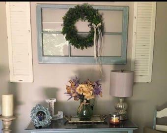 ON SALE Christmas gift for her - mantel decor - wreath hanger wood window - 6 pane wood window - 6 pane window frame - wood window for weddi