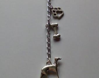 Greyhound, Whippet, Lurcher dog charm key ring, key chain
