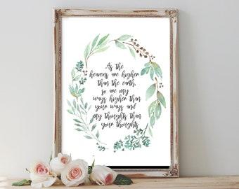 Isaiah 55:9 Print, Prayer Art, Bible Verse Print, Scripture Print, Quote Print, Christian Print, Watercolor Print, Nursery Decor