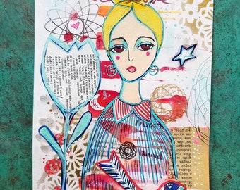 Star Love Goddess / Mixed Media Painting