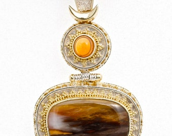 Petrified 4 - Pendant - Sterling Silver and 24K Gold plating - Mexican Fire Opal & Petrified Wood