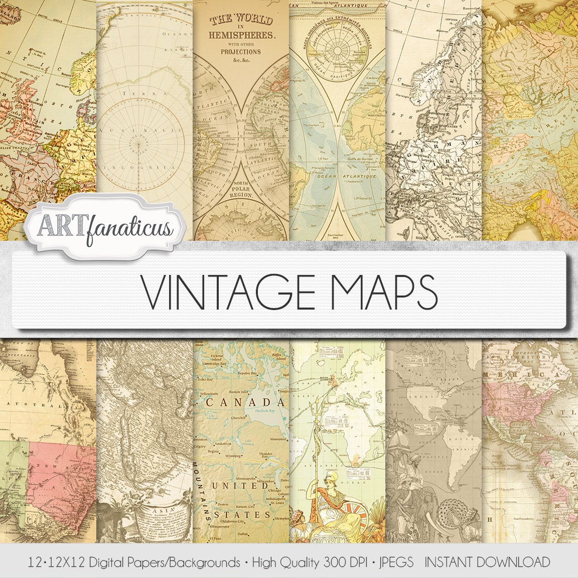 Vintage maps digital paper vintage maps travelantique maps old vintage maps digital paper vintage maps travelantique maps old world globe america europe asia australia maps scrapbooking from artfanaticus on gumiabroncs