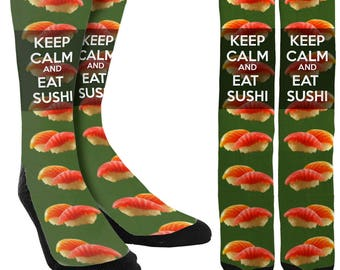 Keep Calm And Eat Sushi Crew Socks - Sushi Socks - Unique Socks - Novelty Socks - Funny Socks - Mens Socks -Womens Socks - FREE Shipping F32
